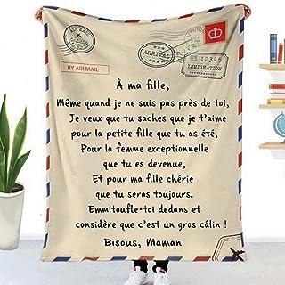 QIDIAN Couverture Personnalisée a ma Fille/Fils, Flanelle couettes imprimées Lettre aérienne Couverture en Flanelle mère E...