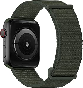 Oxwallen Nylon Velcro Comfortable Soft Loop Band Compatible with Apple Watch 7 45mm 42mm 44mm, Sport Stretchy Elastic Braided Fabric Solo Strap for Women Men fit iWatch SE & Series 7 6 5 4 3