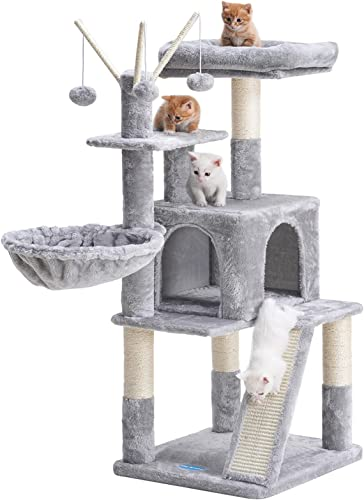 discount Hey-brother Cat Tree 46inch Cat Condo with Sisal Scratching high quality Posts,Multi-Level Cat Tower with Scratching Board,Basket,Removable online sale Fur Ball Sticks online sale