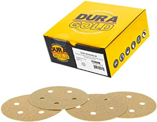 """Dura-Gold - Premium - 80 Grit - 5"""" Gold Sanding Discs - 5-Hole Dustless Hook and Loop for DA Sander - Box of 50 Finishing Sandpaper Discs for Woodworking or Automotive"""