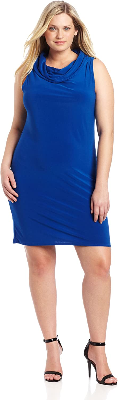 Star Vixen Women's Plus-Size Sleeveless Cowlneck Dress