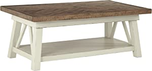 Signature Design by Ashley - Stowbranner Farmhouse Rectangular Cocktail Table, White/Brown
