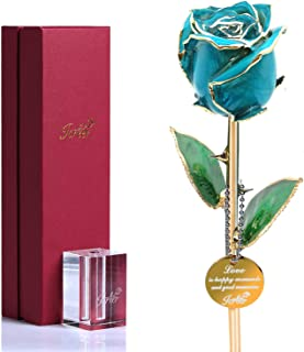 Icreer Gold Dipped Blue Rose Flower Gifts for Anniversary,Birthday,Valentine's Day,Wedding,Gift for Her,Mom,Wife,Girlfriend,Include Crystal Stand