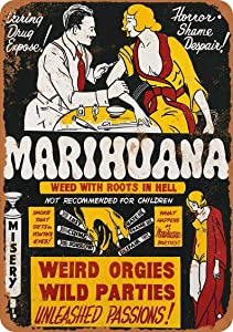 Retro Metal Tin Sign Vintage 1936 Marijuana Weed with Roots in Hell Aluminum Sign for Home Coffee Wall Decor 8x12 Inch
