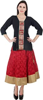 Devaleena Creations Red Jcquard Skirt with Golden Border