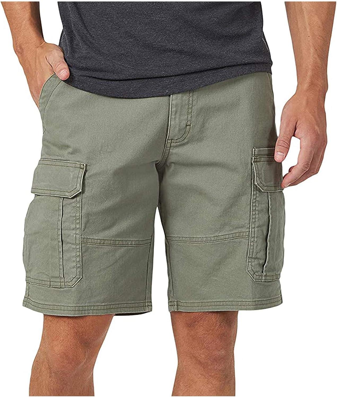 miqiqism Mens Shorts Casual Drawstring Zipper Pockets Elastic Waist Cargo Short