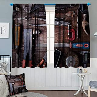 Industrial Blackout Window Curtain Crafting Equipment with Obsolete Dusty Mechanic Tools...