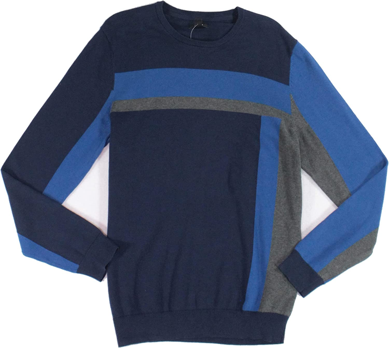Alfani Mens Sweater Deep Small Pullover Vertical-Blocked Blue S