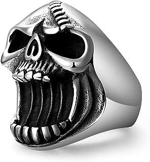 Skull Rings for men, Stainless Steel Bottle Opener Gothic Biker Punk Antique Surgical Mens Ring Beer Halloween Gift