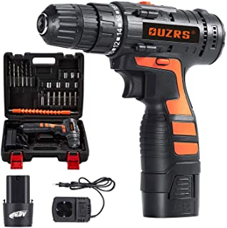 """Cordless Drill Driver, OUZRS Combi Drill with 26Pcs Accessory 16.8V 2 Speed Electric Screwdriver, 3/8"""" Keyless Chuck, 1500..."""