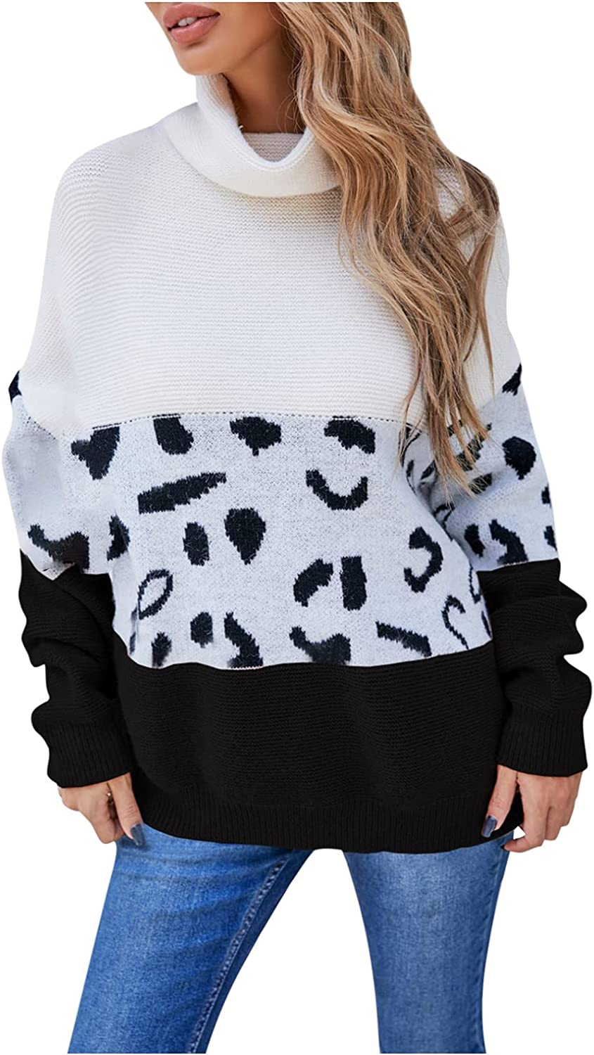 Fashion Pullover Sweater Women Leopard Bow Collar Solid Button Knitted Casual Long Sleeve Warm Top