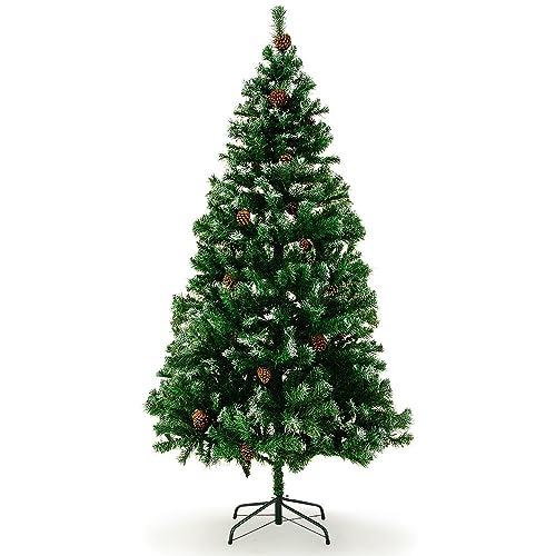 Sapin de Noël 180 cm Arbre artificiel avec pommes de pins Neige artificielle Décoration fêtes maison