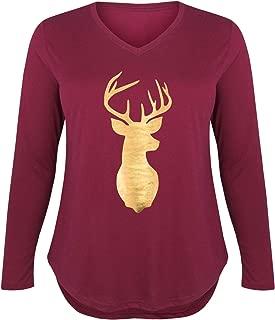 Deer Head Gold Foil - Ladies Plus V-Neck Long Sleeve Tee
