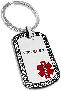 Two-Tone Stainless Steel Greek Key Medical Alert ID Dog Tag Keychain Keyring