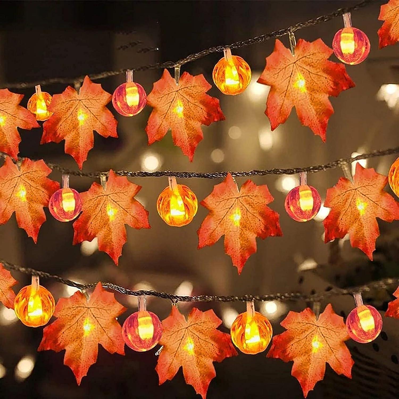 DMHOME Halloween Decorations Pumpkin Decor Halloween Lights, 5Ft/ 10 Led Lighted Garland Battery Garland Home Indoor Outdoor Decor Halloween Decoration (A)