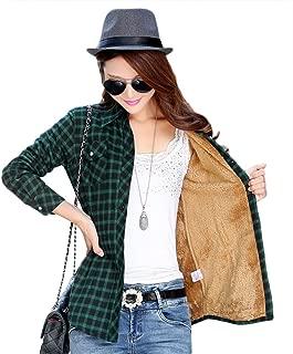 Womens Casual Fleece Winter Plaid Slim Shirt Blouse