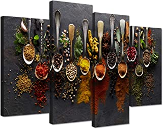 iHAPPYWALL Kitchen Pictures Wall Decor 4 Pieces Couful Spice in Spoon Vintage Canvas Wall Art Food Photos Painting On Canvas Stretched Framed Home Decoration Gift Ready to Hang