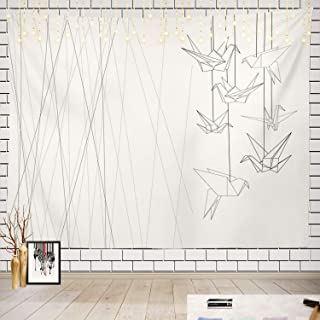 Batmerry Black and White Tapestry, White Paper Crane Picnic Mat Beach Towel Wall Art Decoration for Bedroom Living Room Dorm, 51.2 x 59.1 Inches, Black White 8