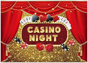 Allenjoy 7x5ft Casino Night Las Vegas Themed Backdrop Adult Carnival Party Decoration Banner Playing Cards Dice Red Curtain Golden Bokeh Glitter Birthday Photography Background Photo Booth Props