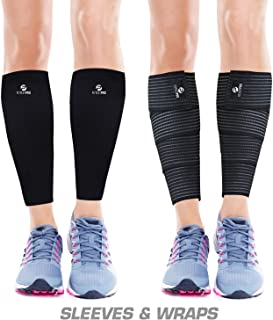 Calf Compression Sleeves and Leg Wraps (4 Piece) Shin Splint Support, Calve Guards for Men and Women - Braces Provide Healthy Circulation Pain Relief for Running, Basketball, Cycling, Maternity