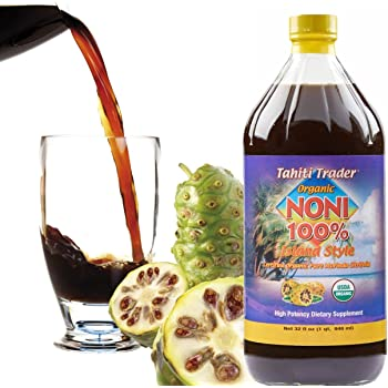 TAHITI TRADER Organic Noni 100% Island Style Juice 32oz (1 Pack) - Noni Juice Organic Pure - Organic Noni Juice Tahiti - Juice Noni Tahiti Juice - High Potency 100% Pure Noni Juice