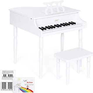 Best Choice Products Kids Classic 30-Key Mini Baby Grand Piano w/ Bench, Sheet Music Stand, White