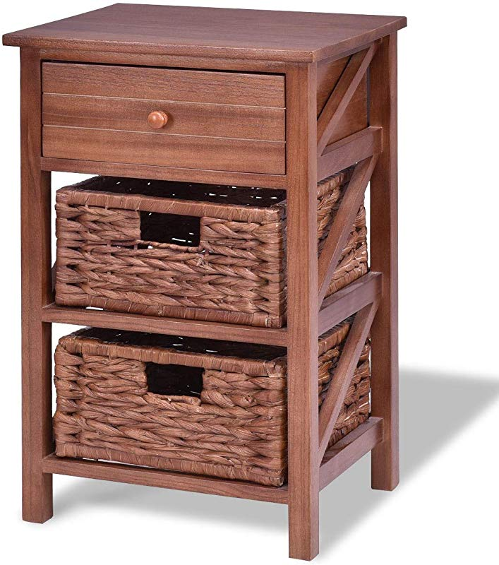 3 Tiers Wood Nightstand With 1 Drawer And 2 Basket Solid And Durable Construction Bedroom Hallway Living Room Furniture Fashionable Design Home Decor Coffee Bedside Table