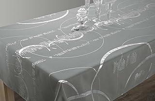 Le linge de Jules Nappe Shiny - Entretien Facile Gris Clair - Taille : Rectangle 150x240 cm