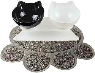 室内猫用、犬用食器スタンドとボウルのセット エサ皿 食盆 猫中小型犬用 フードボウル 自動給餌器猫 可愛い 猫用砂マット、食事用マットが付け 便利、使いやすい 洗い可 清潔便利 安全 2個セット (黒白)