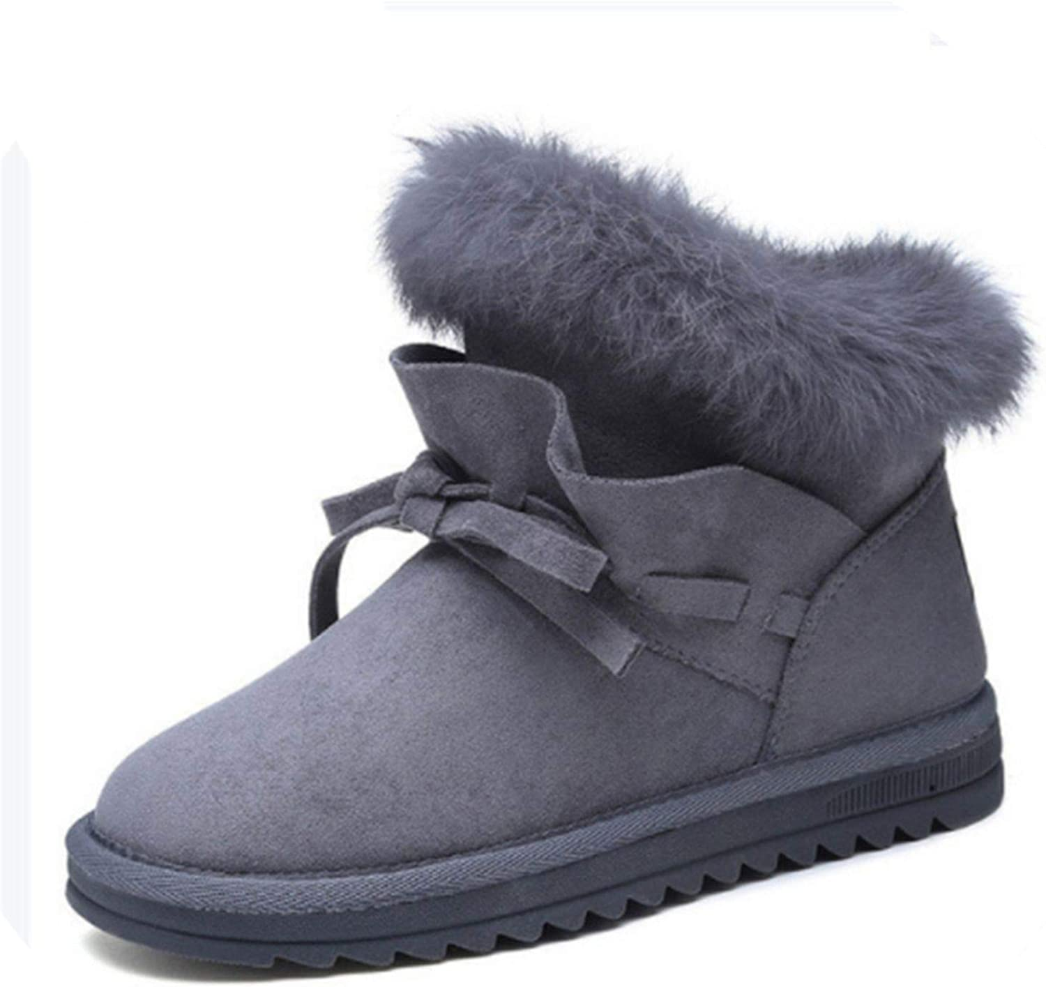 2018 New Bow-Knot and Ruffles Snow Boots Women's Hair Short Ankle Boot Plus Velvet Cotton shoes
