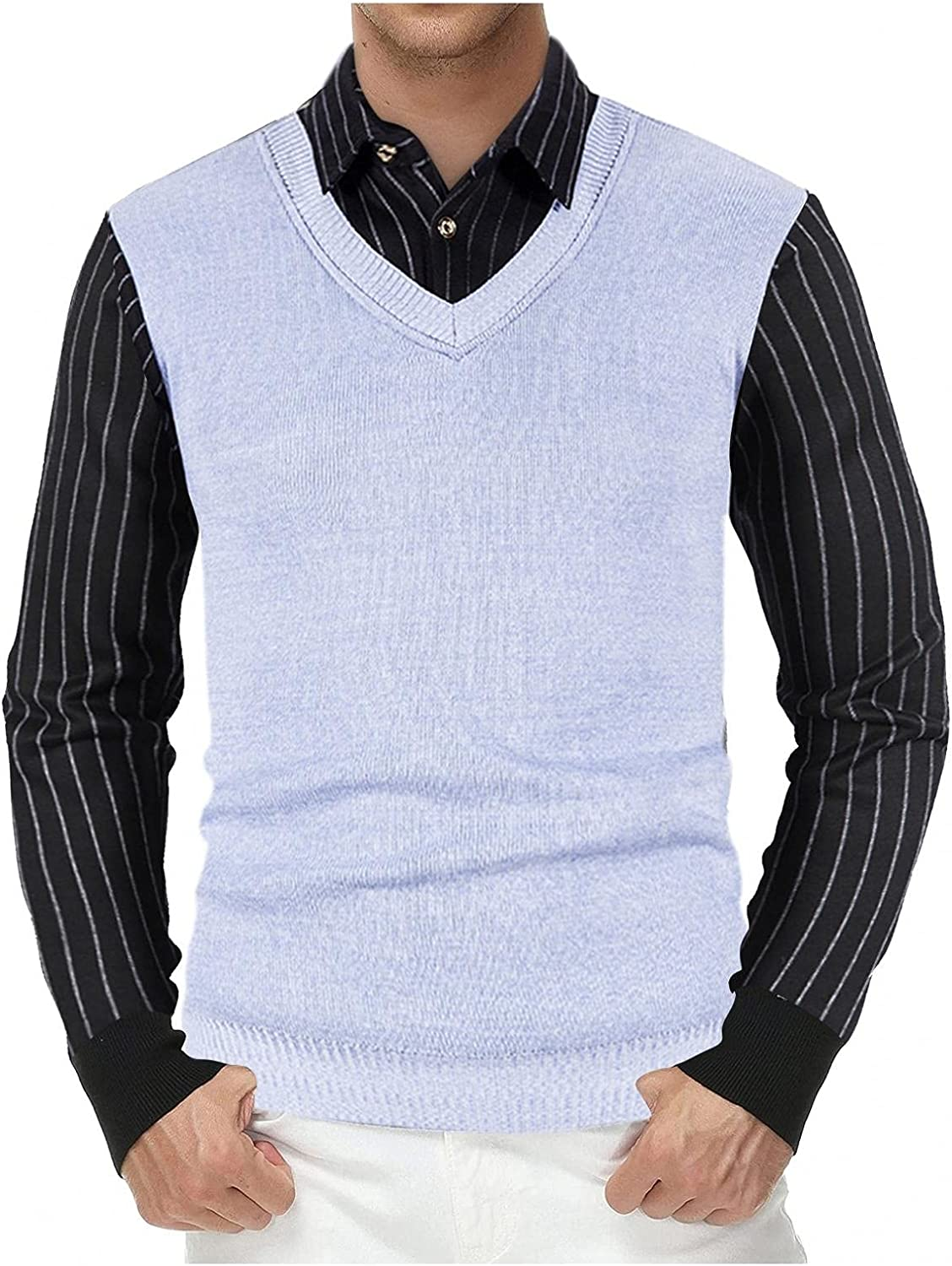 PHSHY Men's Cable Knit Sweater Vest Striped Business Fake Two Piece Shirt Button Down Lightweight Long Sleeves Knitwear
