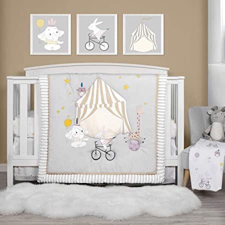 TILLYOU 4-Piece Circus Theme Crib Bedding Set for Boys, Luxury Nursery Bedding Essential Including 1 Padded Comforter, 1 Crib Skirt and 2 Silky Soft Microfiber Crib Sheets, Standard Size, Animals