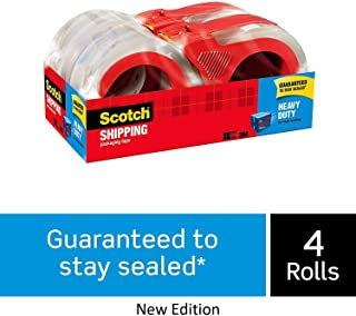 "Scotch Heavy Duty Shipping Packaging Tape with Refillable Dispensers, 4-Pack, Great for Packing, Shipping & Moving, 1.88"" x 54.6 Yards, Clear, 3"" Core (3850-4RD), New Edition"