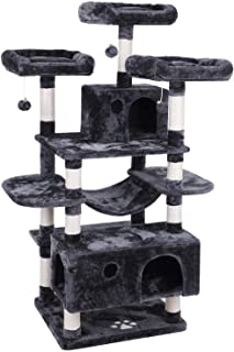 BEWISHOME Large Cat Tree Condo with Sisal Scratching Posts Perches Houses Hammock, Cat Tower Furniture Kitty Activity Center Kitten Play House Grey MMJ03B