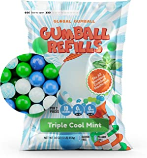 Gumballs 1 lb Bubble Gum Balls For Kids and Gumball Machines Refill - 1/2 inch Triple Cool Mint 260 Bubblemint Gumballs Pe...