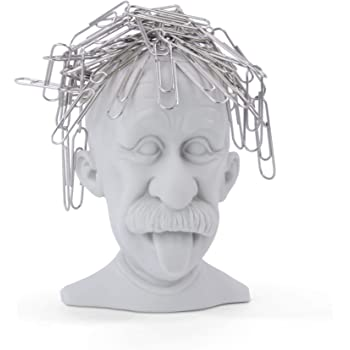 MUSTARD - Genius Paperclip Holder I Magnetic Clip Dispenser I Funny Office Gadget I Magnetic Paper Clip Holder I Einstein Paper Clip Holder I Special Paper Clip Dispenser for Desk I Einstein - Grey