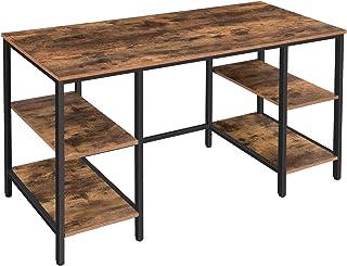HOOBRO Grand Table Informatique, Table d'Ordinateur, Bureau avec 4 Étagères de Rangement, Grand Dessus, 137 x 55 x 76 cm, ...