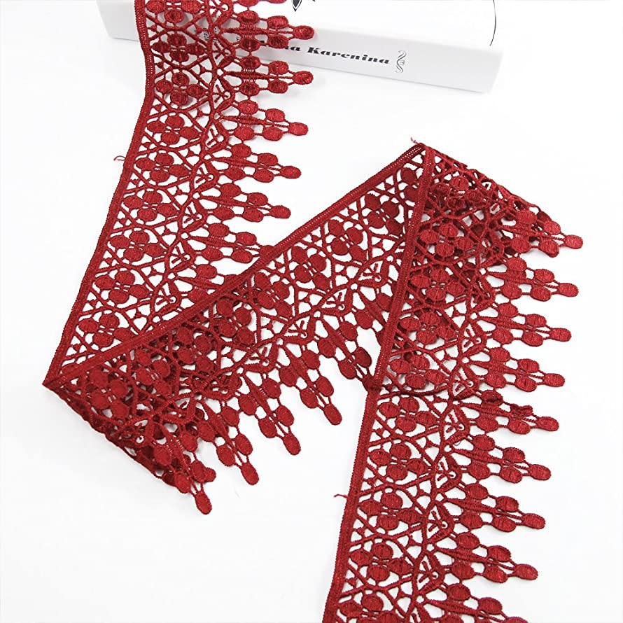 Lace Trim Applique 5 Yards DIY Craft Clothing Sewing Accessories Cotton Lace (Red)