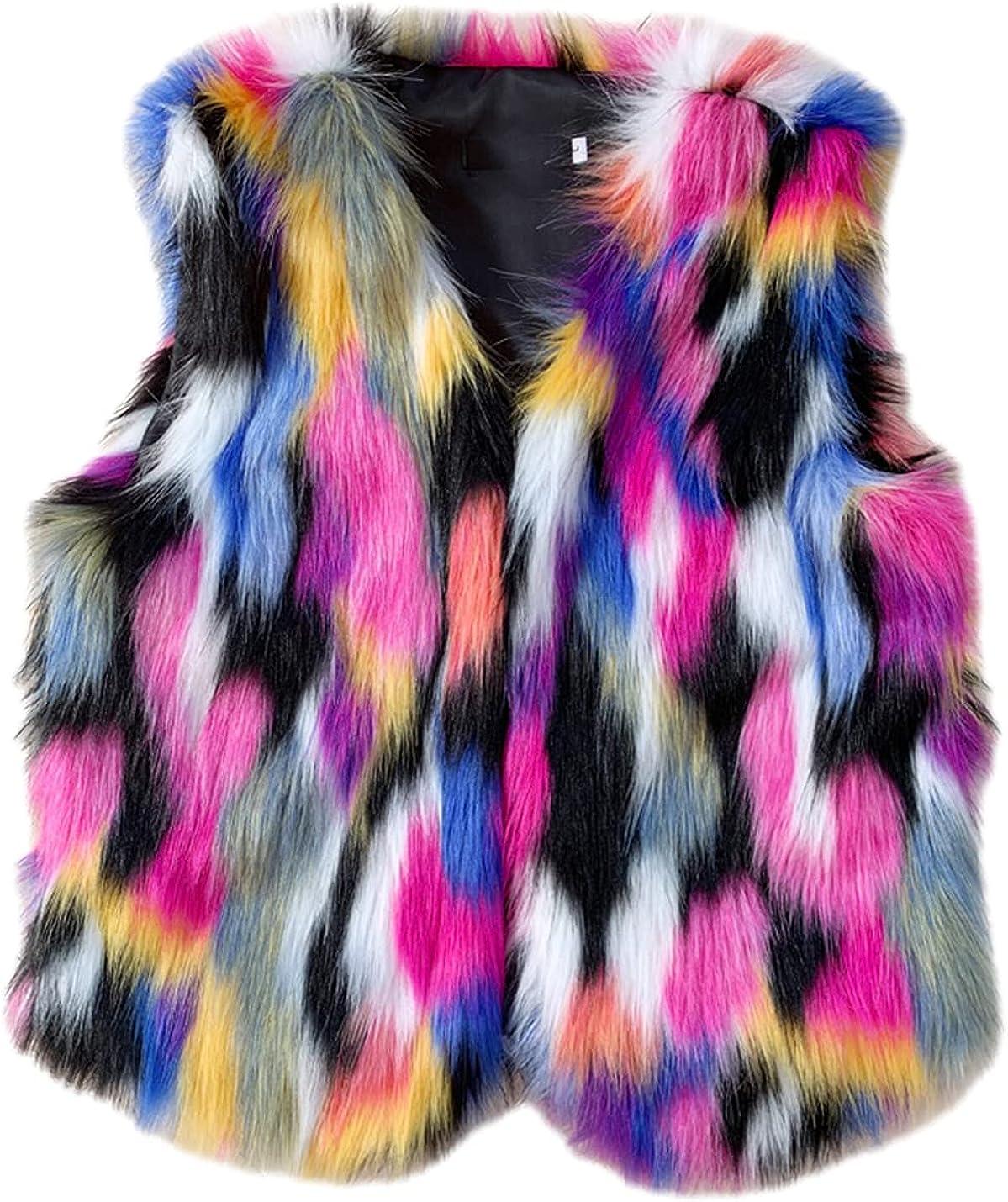 SeekMe Women's Faux Fur Color Block Shiny Vest Button Down Warm Fluffy Sleeveless Coat