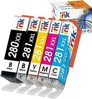 Starink Compatible Ink Cartridge Replacement for Canon 280 281 XXL PGI-280XXL CLI-281XXL for Pixma TR8520 TS6220 TS6320 TR7520 TS6120 TS9120 TS8120 TS8220 TS8320 Printer, 5 Packs(PGBK Black C M Y)