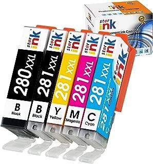 Starink Compatible Replacement for 280 281 Ink cartridges, 280XL 281XL,PGI-280XXL CLI-281XXL Work with PIXMA TR7520 TR8520 TS6120 TS6220 TS8120 TS8220 TS9120 TS9520 TS9521C (1PGBK 1BK 1C 1M 1Y)