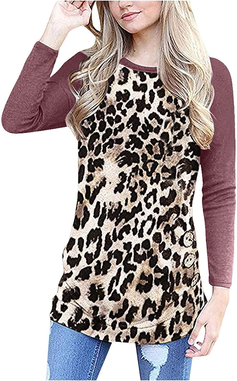 Women Long Sleeve Loose Button Trim Neck 2021 model Tu mart Round Blouse Leopard