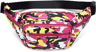 Plus Sizes Series Fashion 6 Pockets Waist Fanny Pack Chest Bag - Camo Pink