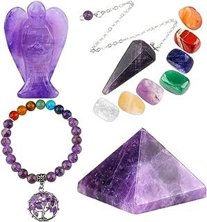 mookaitedecor Amethyst Healing Crystals Set, 7 Chakra Bracelet, Palm Stones, Pendulum, Pocket Guardian Angel, Pyramid Meditation Kits for Reiki,Balancing