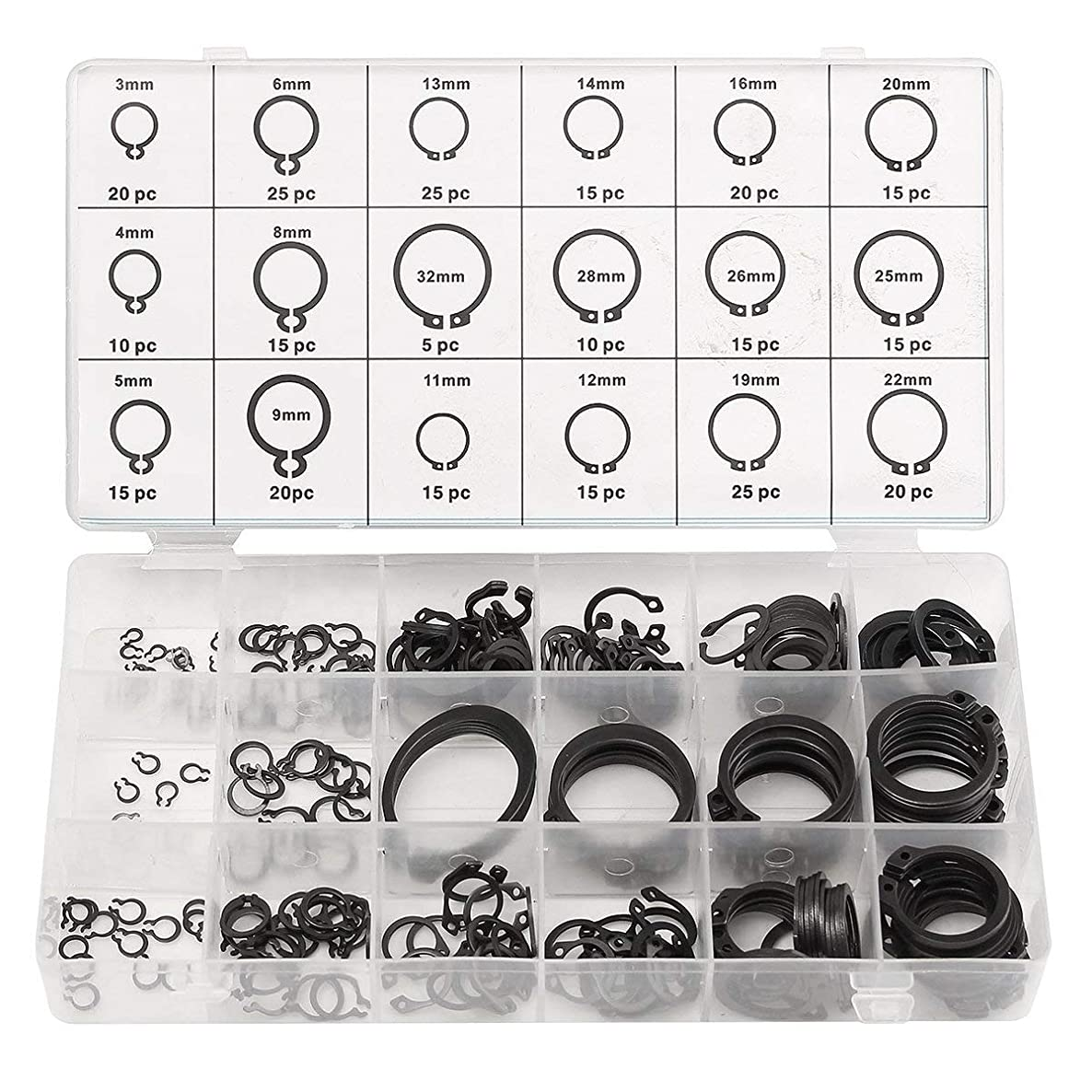 HIFROM 300pcs C-Clips Snap Ring Shop Assortment Black Washer Hardware Circlip Retaining Ring Set for Industrial Fasteners 18 Sizes