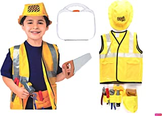 Yalla Baby Kids 7pcs Construction Worker Costume Role Play Kit Set, Pretend with Realistic Accessories,Educational Enginee...