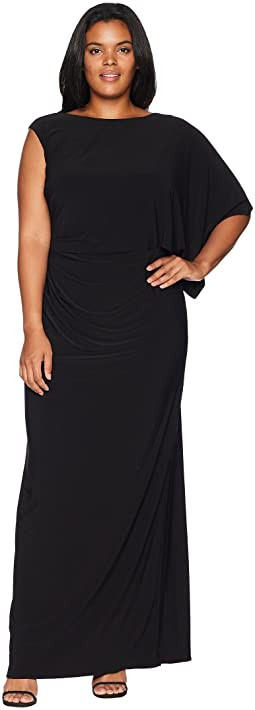 Plus Size One Shoulder Jersey Gown with Draped Bodice