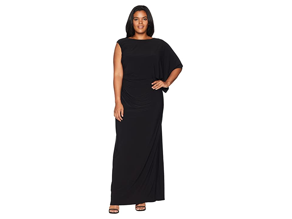 Adrianna Papell Plus Size One Shoulder Jersey Gown with Draped Bodice (Black) Women