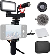 FULAIM Smartphone Video Microphone w//Anti-Shock Mount Phone Holder Tripod Compatible with iPhone Samsung etc Mobiles and DSLR Camera for YouTube Vlogging Facebook Livestream Audio//Video Recording