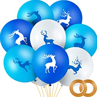 Buck Deer Party Balloons Set, Includes 48 Pieces Blue Buck Deer Balloon and 2 Rolls Gold Band for Baby Shower Birthday Blu...